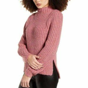 Leith Mock Neck Chunky Knit Long Sleeves Sweater